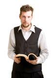 Homem com livro Fotografia de Stock Royalty Free
