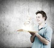 Homem com livro Fotos de Stock Royalty Free
