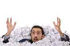 Homem com lotes do papel Foto de Stock Royalty Free