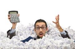 Homem com lotes do papel waste Fotografia de Stock Royalty Free