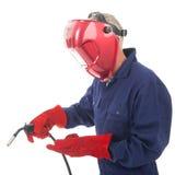 Homem com máscara da soldadura imagem de stock royalty free