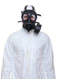 Homem com máscara de gás fotografia de stock