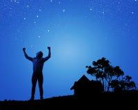 Homem com mãos acima Fotos de Stock Royalty Free