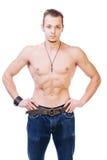Homem com músculos fotos de stock royalty free
