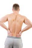 Homem com mais baixa dor nas costas fotografia de stock