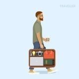 Homem com a mala de viagem que guarda o café Foto de Stock Royalty Free