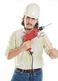 Homem com martelo e broca Fotos de Stock Royalty Free