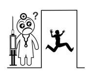 Homem com medo do doutor ilustração royalty free