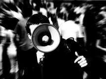 Homem com megafone Imagens de Stock
