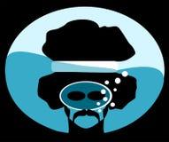 Homem com mergulhador afro que corta ilustração do vetor