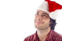 Homem com Natal Red Hat Imagem de Stock Royalty Free