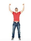 Homem com no ocasional com as mãos levantadas isoladas acima Imagens de Stock