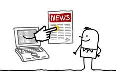 Homem com a notícia em linha ilustração royalty free