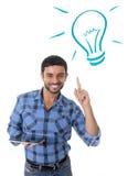 Homem com novas tecnologias digitais conceito, ideias e soluções da tabuleta Imagens de Stock