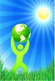 Homem com o globo verde no fundo do verão ilustração royalty free
