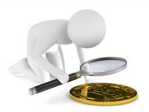 Homem com o magnifier no fundo branco Ilustração 3d isolada Fotos de Stock Royalty Free