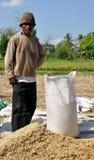 Homem com o saco de arroz Imagens de Stock Royalty Free
