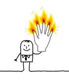 Homem com os cinco dedos ardentes Fotos de Stock Royalty Free