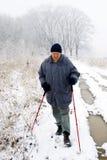 Homem com pólos trekking Fotos de Stock Royalty Free