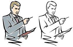 Homem com pena e caderno. JPG e EPS ilustração do vetor