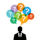 Homem com perguntas Imagens de Stock Royalty Free