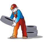 Homem com pneu Imagem de Stock