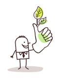 Homem com polegar verde ilustração royalty free