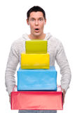 Homem com presentes Imagem de Stock