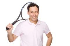 Homem com raquete de tênis Fotografia de Stock