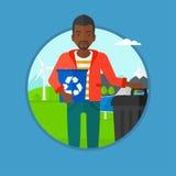 Homem com reciclagem e balde do lixo Imagens de Stock