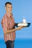Homem com refeição do fast food foto de stock royalty free