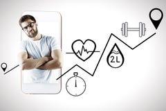 Homem com saúde app fotos de stock royalty free