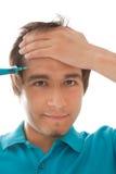 Homem com seringa Imagem de Stock Royalty Free