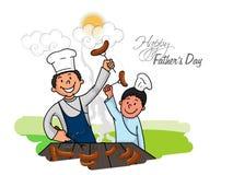Homem com seu filho para o dia de pai feliz ilustração royalty free