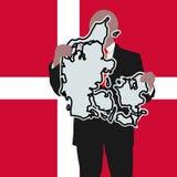 Homem com sinal de Dinamarca Foto de Stock Royalty Free