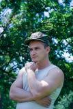 Homem com tampão Fotografia de Stock Royalty Free