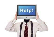 Homem com a tela da tevê da ajuda para a cabeça Foto de Stock Royalty Free