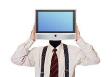 Homem com a tela da tevê para a cabeça Foto de Stock
