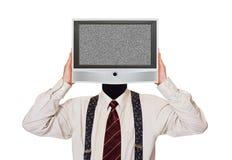 Homem com a tela ruidosa da tevê para a cabeça Fotos de Stock