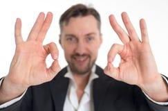 Homem com todo o gesto direito Imagem de Stock Royalty Free