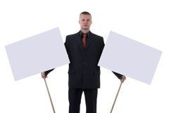 Homem com transparências. Imagem de Stock