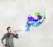 Homem com trombeta Imagem de Stock Royalty Free