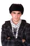 Homem com um chapéu russian foto de stock royalty free