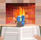 Homem com um livro pela chaminé, ilustração do vetor Fotos de Stock