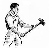 Homem com um martelo ilustração stock