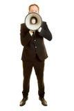 Homem com um megafone em um retrato frontal imagens de stock royalty free