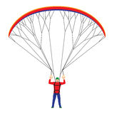Homem com um paraglider ilustração stock