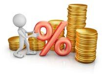 Homem com um por cento e as moedas Fotos de Stock Royalty Free