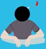 Homem com uma bomba pelo contrário uma cabeça Ilustração Stock