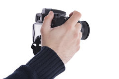 Homem com uma câmera de DSLR Imagens de Stock Royalty Free